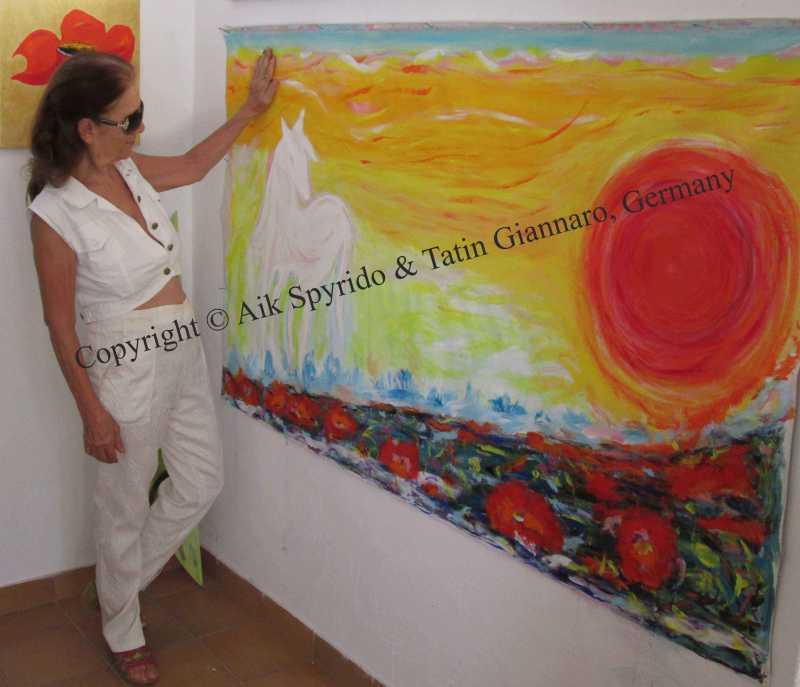 Aik Spyrido mit einem gemalten Werk Pferd und Sonne